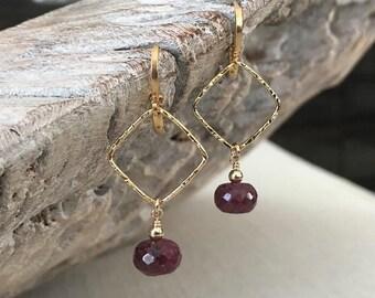 Ruby Dangle Earrings in Gold or Silver