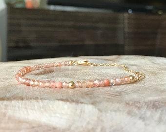 Skinny Sunstone Bracelet in Gold or Silver