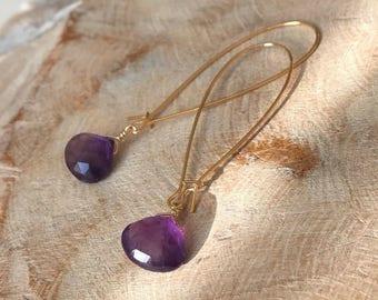 Amethyst Hoop Earrings in Gold or Silver