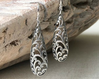 Long Silver Teardrop Filigree Earrings