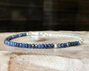Skinny Sapphire Bracelet in Gold or Silver