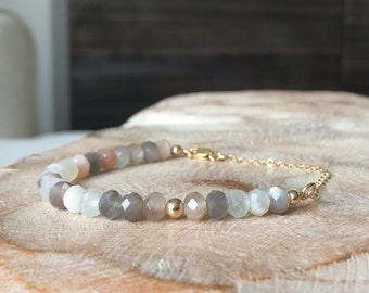 Multi Moonstone Bracelet in Gold or Silver