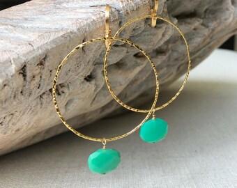 Large Chrysoprase Hoop Earrings in Gold or Silver