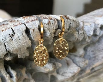 Small Oval Gold Disc Earrings