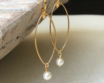 Medium Pearl Hoop Earrings in Gold or Silver