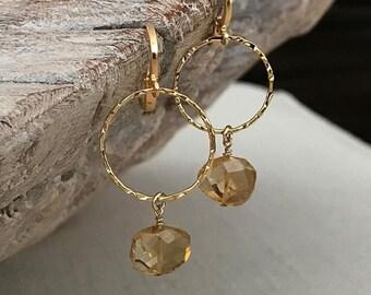 Gold Citrine Dangle Earrings