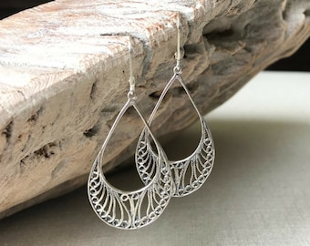 Medium Silver Filigree Hoop Earrings