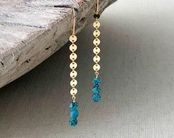 Long Gold Turquoise Dangle Earrings