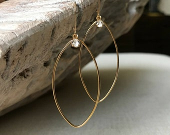 Large Marquise Hoops in Gold or Silver