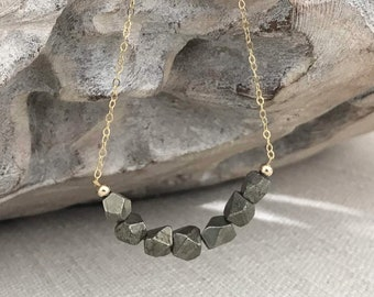 Raw Pyrite Necklace in Gold or Silver
