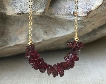 Natural Raw Garnet Necklace in Gold or Silver