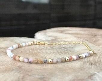 Dainty Pink Opal Bracelet