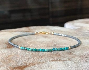 Dainty Turquoise and Silver Hematite Bracelet