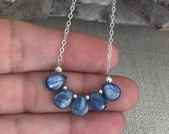 Blue Kyanite Necklace in Gold or Silver