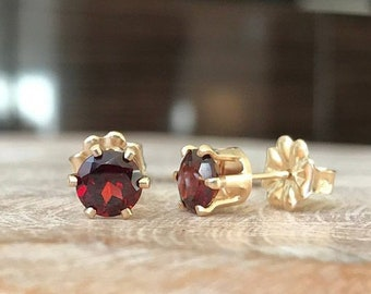 Garnet Stud Earrings in Gold or Silver