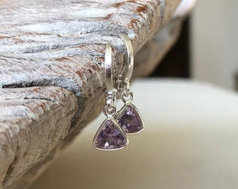 Tiny Silver Amethyst Triangle Earrings