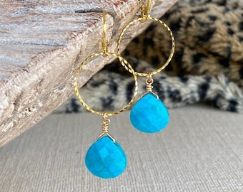 Turquoise Hoop Earrings Gold or Silver, Best Gifts for Her, Medium Turquoise Drop Dangle Hoops, December Birthstone, Handmade Jewelry