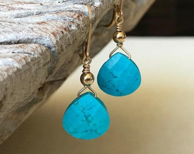 Featured listing image: Simple Turquoise Dangle Earrings