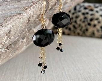 Black Garnet Earrings, Best Gifts for Her, Garnet Drop Dangle Earrings, Handmade Jewelry, Black Gemstone Earrings, Black and Gold Jewelry