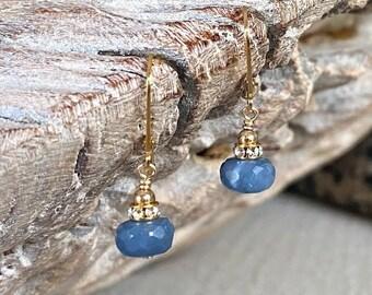 Dainty Opal Earrings, October Birthstone, Denim Blue Opal Drop Dangle in Gold or Silver, October Birthstone, Best Gift for Her, Opal Jewelry