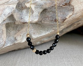 Black Onyx Bar Necklace in Gold or Silver, Best Gifts for Her, Onyx Jewelry, Handmade Jewelry, Dainty Gemstone Layering Necklace