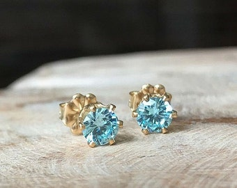 Aquamarine CZ Stud Earrings