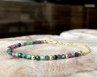 Ruby Zoisite Bracelet in Gold or Silver