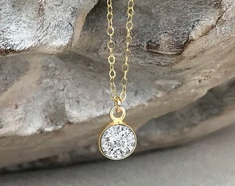 Small Gold Silver Druzy Necklace