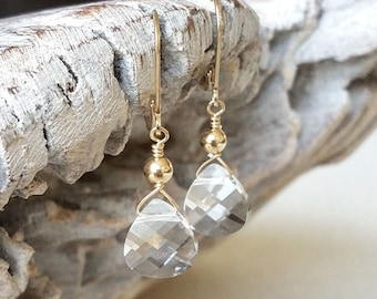 Clear Crystal Earrings in Gold or Silver