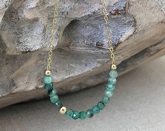 Dainty Emerald Necklace in Gold or Silver