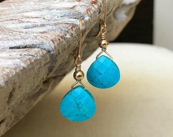 Simple Turquoise Teardrop Earrings, Handmade Jewelry, Turquoise Drop Dangle Earrings, Gift for Her, Turquoise Jewelry, December Birthstone
