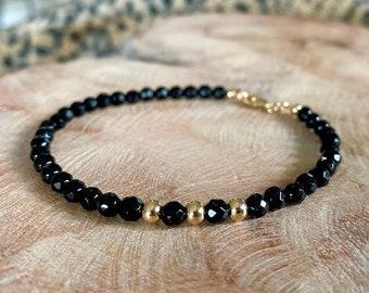 Black Onyx Beaded Bracelet, Best Gifts for Her, Onyx Jewelry, Black and Gold Bracelet, Handmade Jewelry, Black Stone Bracelet