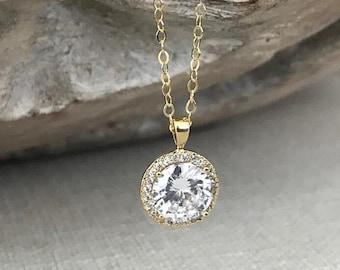 Gold Cubic Zirconia Halo Necklace