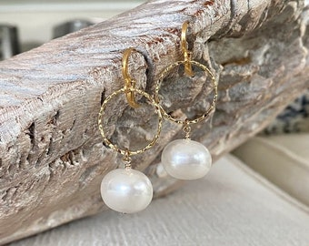 Large Pearl Hoop Earrings Gold, Best Gifts for Her, Statement Pearl Drop Dangle, Pearl Jewelry, June Birthstone, Handmade Jewelry