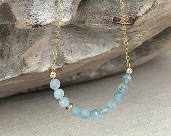 Aquamarine Necklace in Gold or Silver