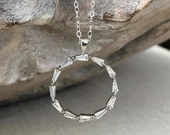 Cubic Zirconia Baguette Circle Necklace