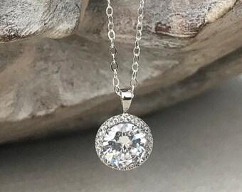 Silver Cubic Zirconia Halo Necklace