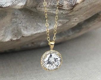 Round Cubic Zirconia Halo Necklace