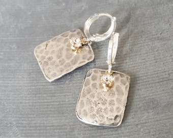 Silver Rectangle Earrings with Dainty Swarovski Crystal Drops