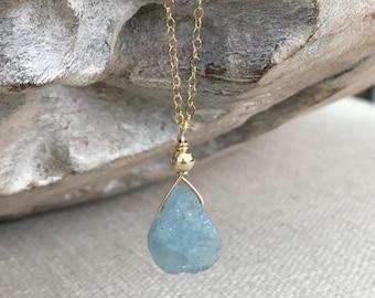 Gold Raw Rough Aquamarine Teardrop Necklace