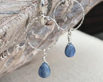 Blue Kyanite Hoop Earrings