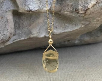 Raw Citrine Necklace in Gold or Silver