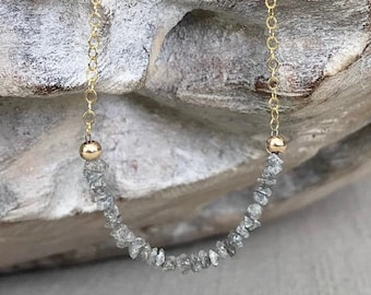 Silver Raw Diamond Necklace in Gold or Silver