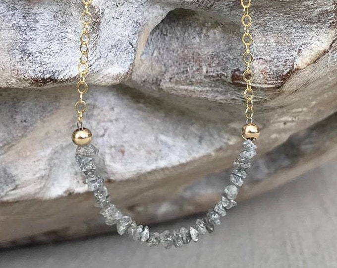 Featured listing image: Silver Raw Diamond Necklace in Gold or Silver