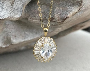 Oval Cubic Zirconia Halo Necklace
