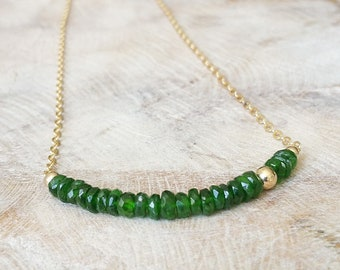 Chrome Diopside Necklace in Gold or Silver