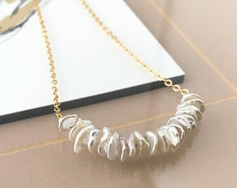 Keshi Pearl Necklace in Gold or Silver