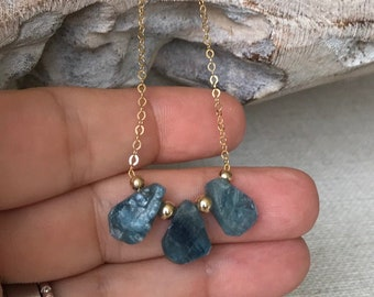 Raw Kyanite Teardrop Necklace in Gold or Silver