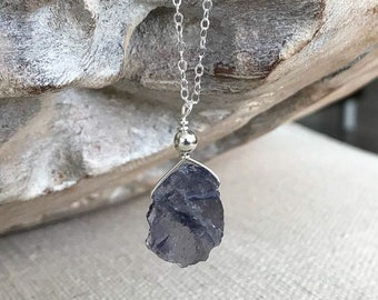 Raw Iolite Necklace in Gold or Silver