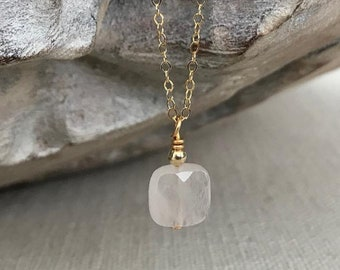 Small Rose Quartz Necklace in Gold or Silver